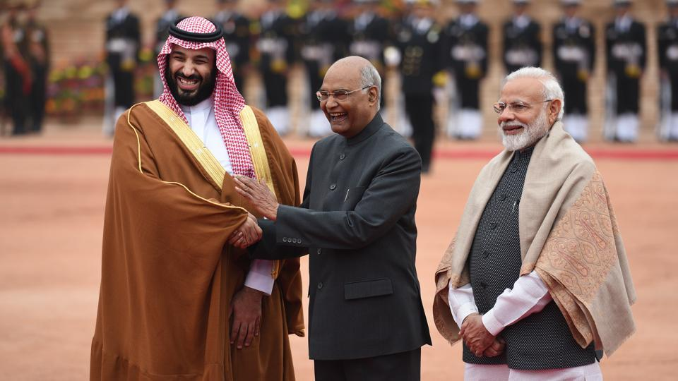 Saudi Arabian Crown Prince Mohammad bin Salman has said that his country sees an opportunity to invest as much as $100 billion in various sectors in India in the coming few years. Addressing a joint press conference with Prime Minister Narendra Modi, the crown prince said his country had invested $44 billion since 2016 in India, when PM Modi had visited the country, and had benefitted from it. (Raj K Raj / HT Photo)