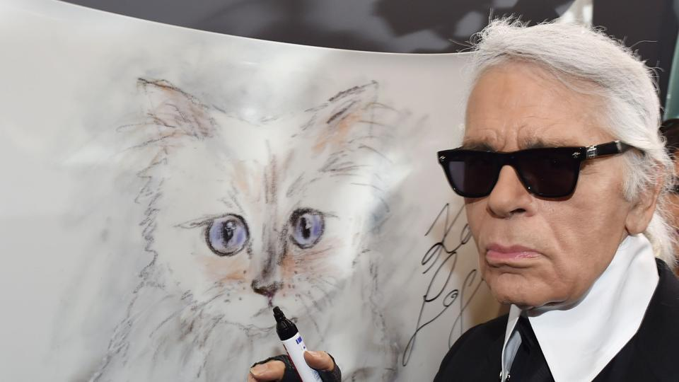 Karl Lagerfeld poses next to a painting of his cat Choupette during the inauguration of the show Corsa Karl and Choupette at the Palazzo Italia in Berlin.