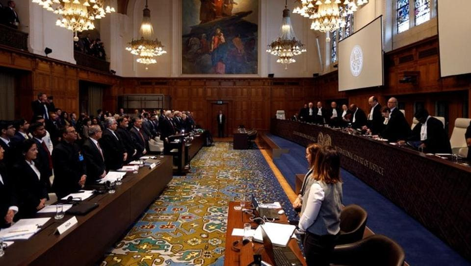 Judges at the International Court of Justice during the final hearing in the Kulbhushan Jadhav case in the Hague, the Netherlands, February 18