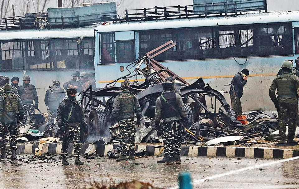 The attack on a CRPF convoy in Kashmir on February 14, 2019 that left 40 dead. Tensions usually spike between India and Pakistan in the aftermath of attacks blamed on Pakistan-based terror groups.