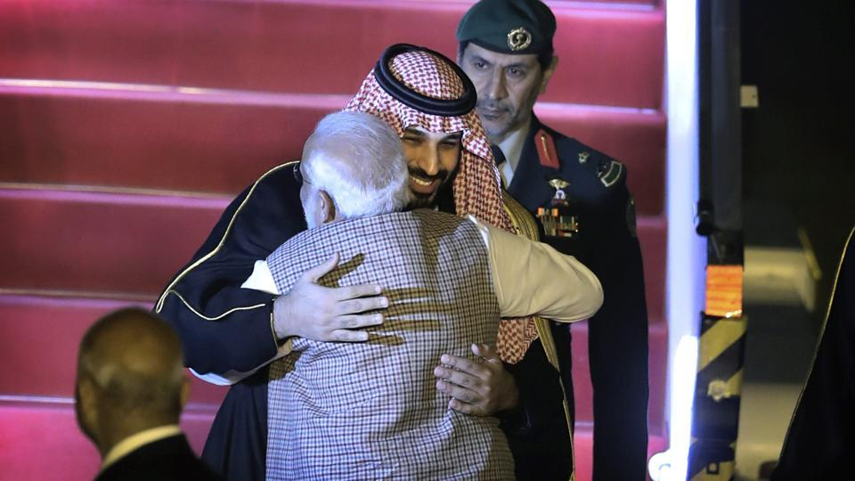 In a special gesture, PM Modi received Saudi Crown Prince Salman at Palam airport on Tuesday night.