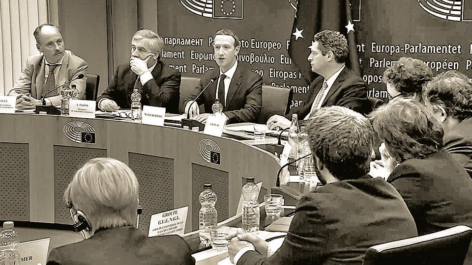 Facebook CEO Mark Zuckerberg answers questions about the improper use of users' data by a political consultancy, at the European Parliament, Brussels, May 22, 2018.