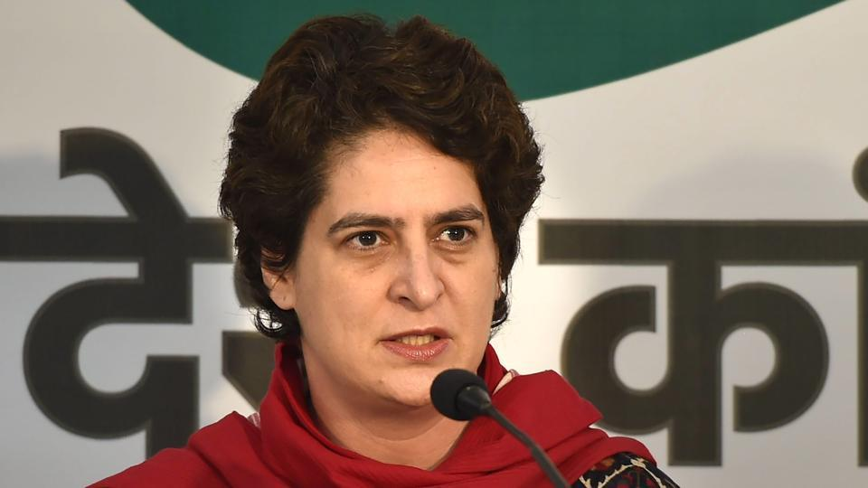 Congress general secretary Priyanka Gandhi Vadra addresses the media at the party office in Lucknow on February 14.