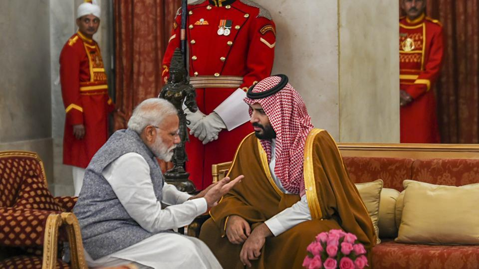 Prime Minister Narendra Modi with Saudi Arabia's Crown Prince Mohammed bin Salman during a banquet hosted, at Rashtrapati Bhavan in New Delhi on February 20.