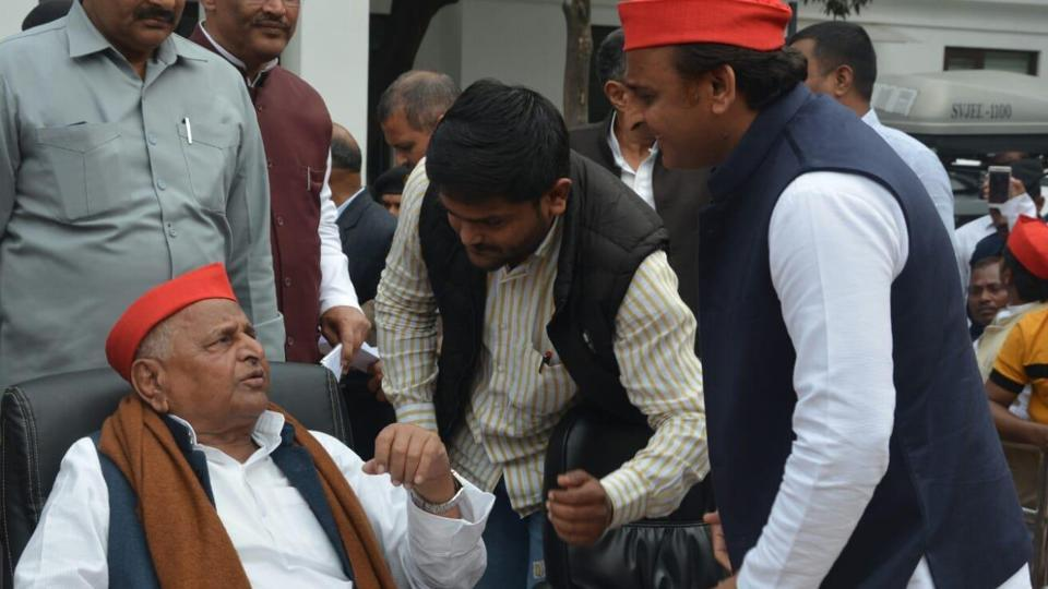 Hardik Patel meets SP former national president Mulayam Singh Yadav after joint press conference with SP chief Akhilesh Yadav at party office in Lucknow