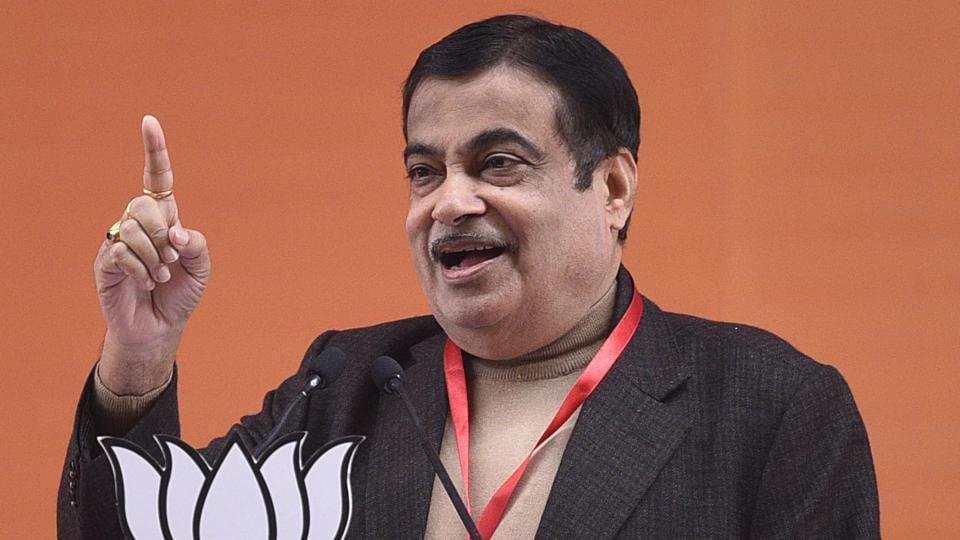 Union minister Nitin Gadkari addressing BJP workers during party's national executive meet at Ramlila Maidan in New Delhi on January 12, 2019. (Photo by Sanchit Khanna/ Hindustan Times)