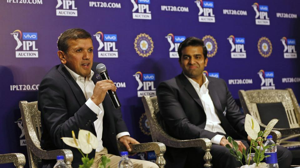 Co-owner of Rajasthan Royals Manoj Badale, left, and Delhi Capitals co-owner Parth Jindal attend a press conference at the IPL auction in Jaipur