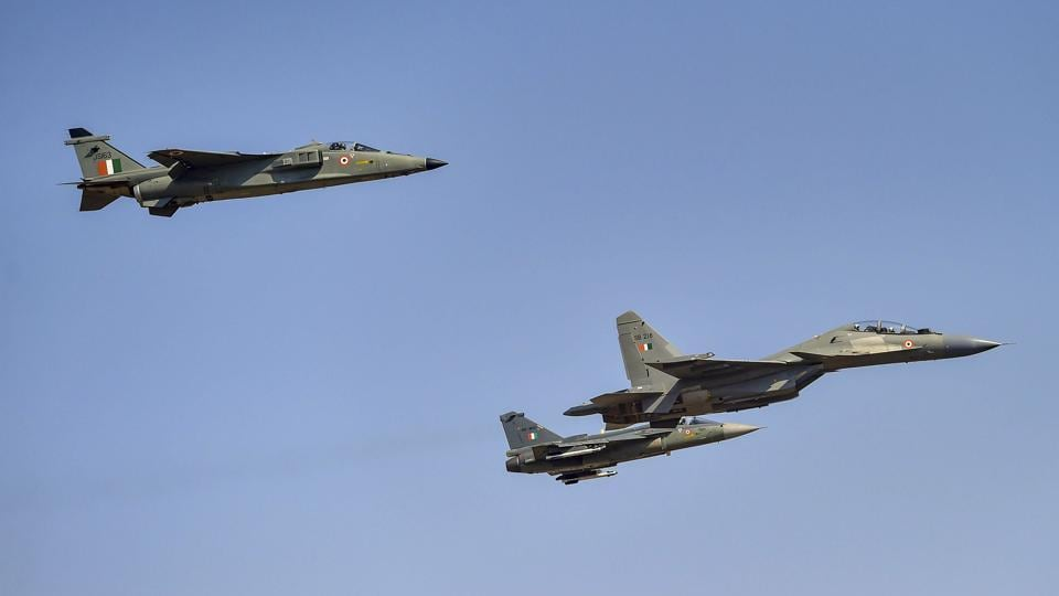 Indian Air Force's Sukhoi aircraft, flanked by a Jaguar and an LCA Tejas formed the 'missing man' formation (which leaves space for one aircraft) on the inaugural day of Aero India 2019, as a tribute to Wing Commander Sahil Gandhi, who lost his life in a mid-air collision during rehearsals in a Surya Kiran Acrobatics Team aircraft on Tuesday. The show kicked off at Yelahanka airbase in Bengaluru on Wednesday. (Shailendra Bhojak / PTI)