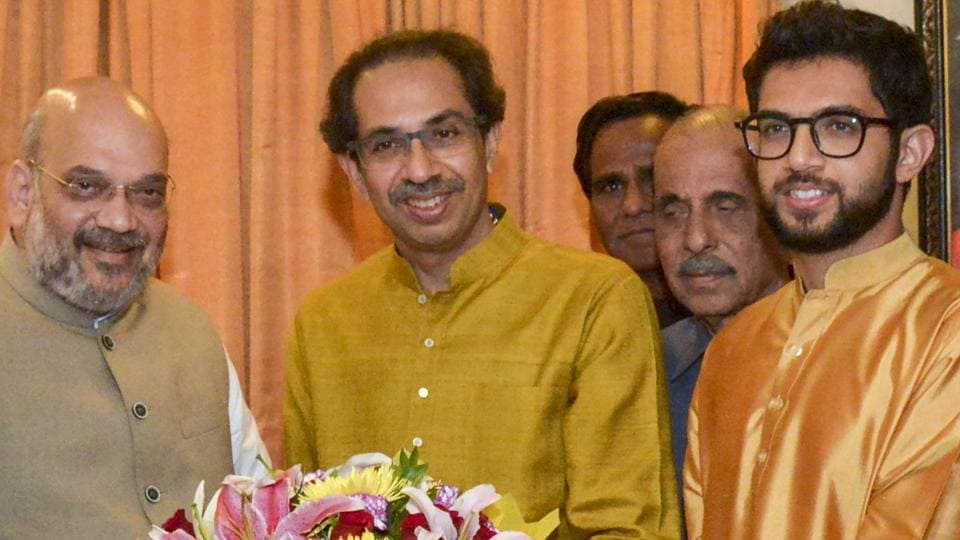 Shiv Sena chief Uddhav Thackeray and BJP president Amit Shah on Monday, when the alliance was announced.
