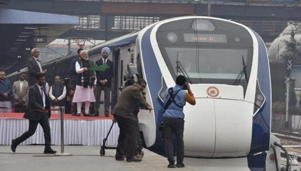 Prime Minister Narendra Modi flags off Vande Bharat Express, India's first semi-high speed train, at New Delhi Railway Station, in New Delhi on Feb 15, 2019