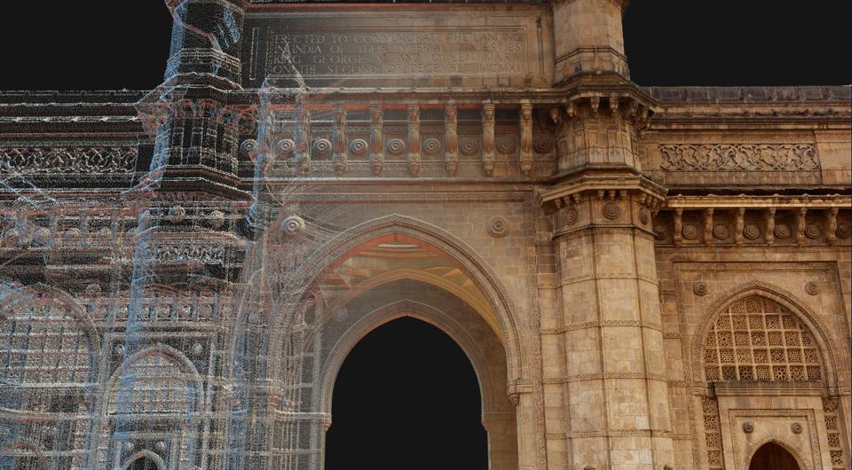 A composite 3D image of the Gateway of India, created by American non-profit CyArk.