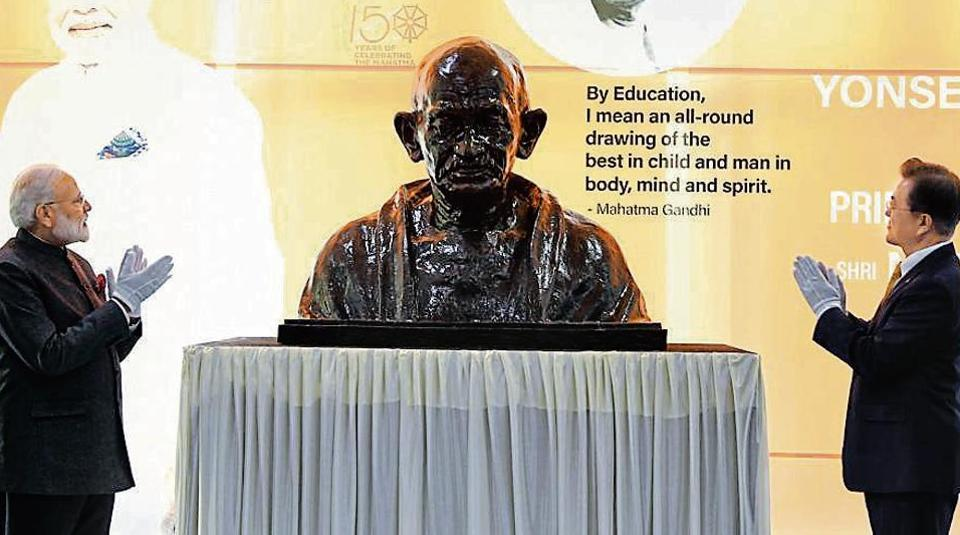 Prime Minister Narendra Modi and South Korea president Moon Jae-in unveil the bust of Mahatma Gandhi at the Yonsei University in Seoul on Thursday. The leaders will hold bilateral talks on Friday