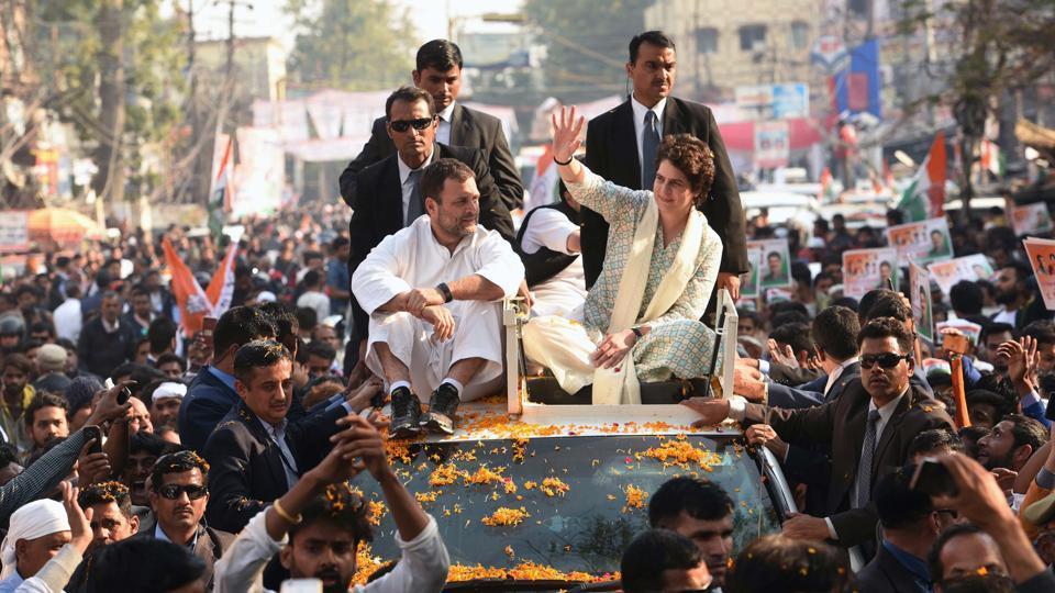 Congress president Rahul Gandhi, party general secretary (incharge of east UP) Priyanka Gandhi Vadra during a roadshow from the Chaudhary Charan Singh airport to the UPCC headquarters in Lucknow, Uttar Pradesh on February 11.