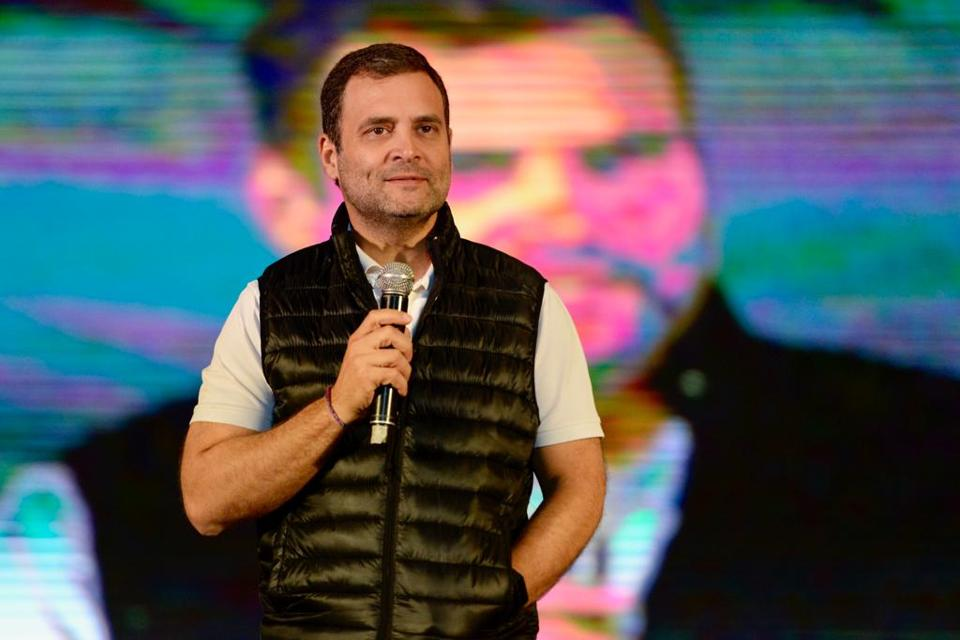Congress president Rahul Gandhi during his interaction with university students in New Delhi on Saturday.