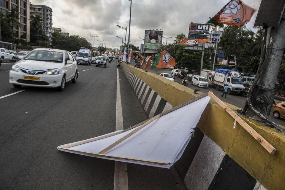 Illegal hoardings, especially those placed along city roads, cause a hindrance to motorists.