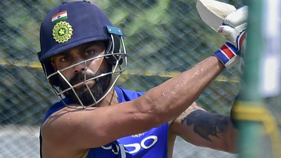Virat Kohli at a practice session ahead of their first T20 international series cricket match against Australia.