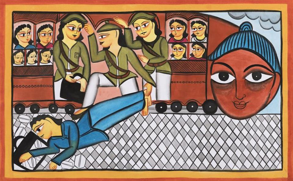 The story of Mahatma Gandhi being thrown of a train in South Africa is depicted in a Pattua art form, which comes from West Bengal. (HT photo)