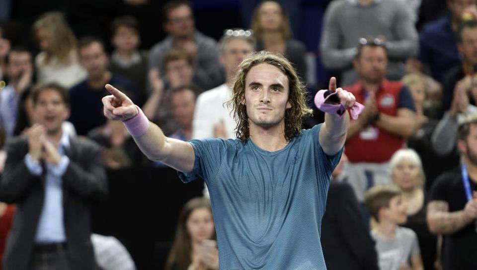 Stefanos Tsitsipas of Greece celebrates after defeating Mikhail Kukushkin of Kazakhstan during their final match at the Open 13 Provence tennis tournament in Marseille, southern France, Sunday Feb. 24, 2019