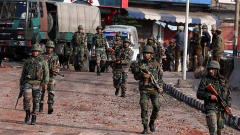 Indian army soldiers patrol during a curfew in Jammu on February 16, 2019, following a deadly attack on paramilitary troops near Srinagar in Jammu and Kashmir state. Image for representation.