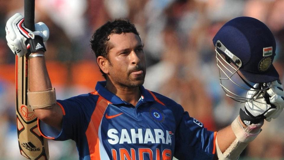Sachin Tendulkar celebrates his 100 during the 2nd ODI between India and South Africa at Captain Roop Singh Stadium on February 24, 2010 in Gwalior.