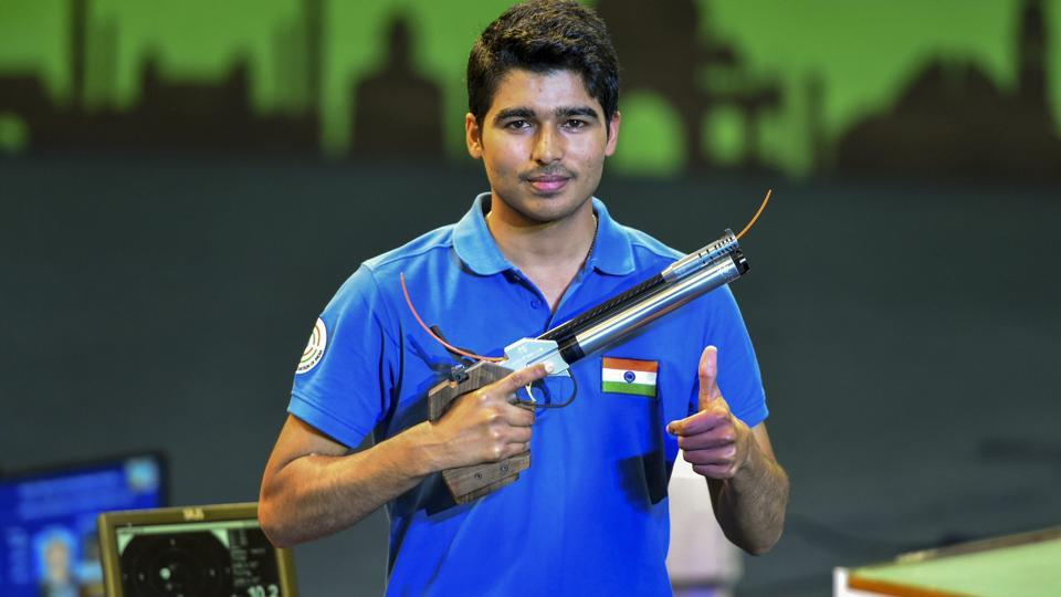 Saurabh Chaudhary celebrates after winning the final round of 10m air pistol event during the ISSF World Cup.