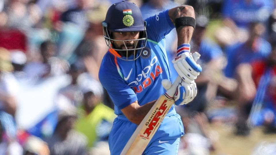 Virat Kohli  plays during the second one day international between India and New Zealand.