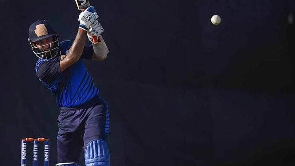 Saurashtra skipper Cheteshwar Pujara bats in Vijay Hazare trophy finals against Karnataka at Feroz Shah Kotla stadium in New Delhi on Tuesday.