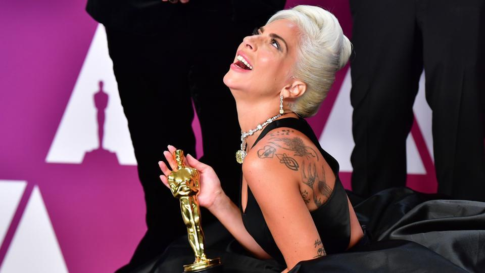 Oscars 2019: Lady Gaga poses in the press room with the Oscar during the 91st Annual Academy Awards at the Dolby Theater in Hollywood, California.