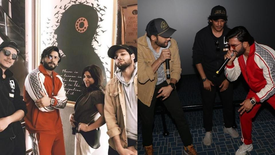 Ranveer Singh, Sidhant Chaturvedi, Vijay Varma and Zoya Akhtar promoted Gully Boy at a theatre in Mumbai.