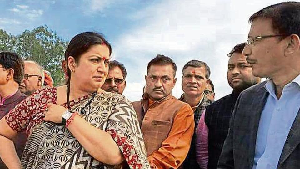 Union minister Smriti Irani inspecting the proposed site for PM Narendra Modi's rally on March 3 in Amethi.