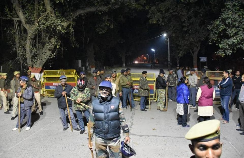 Security personnel on the BHU campus after the incident.