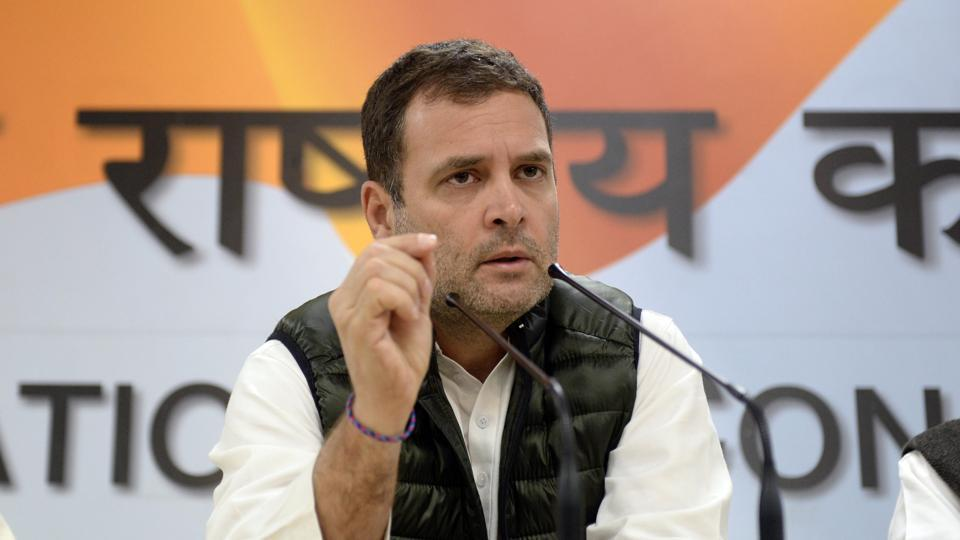 Congress President Rahul Gandhi speaks at a press conference in New Delhi.