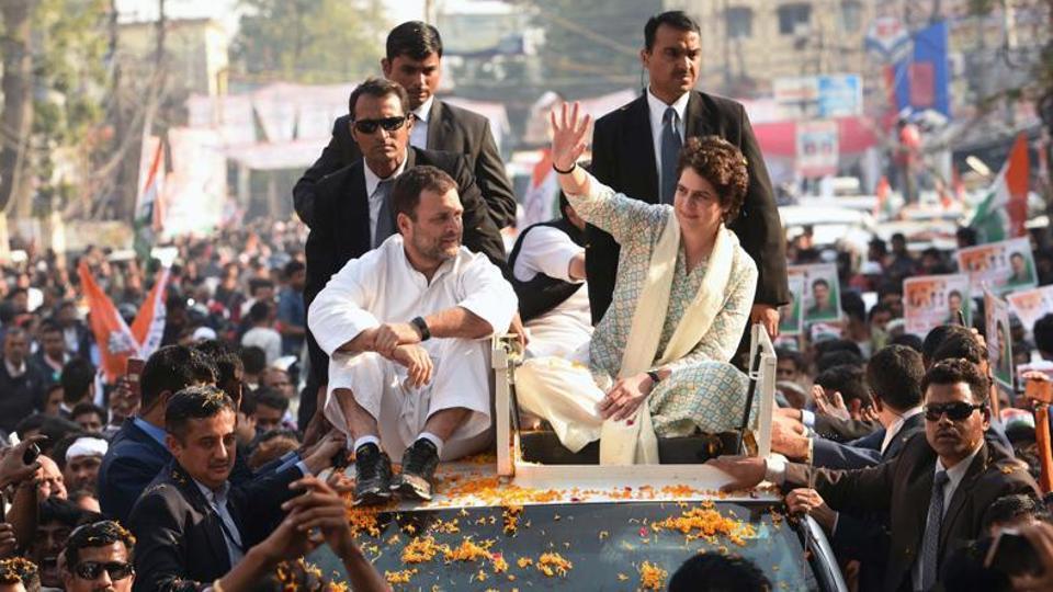 Congress president Rahul Gandhi, party general secretary (incharge of east UP) Priyanka Gandhi Vadra during a roadshow.
