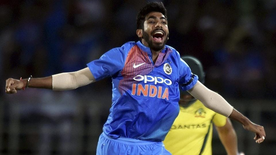 Jasprit Bumrah celebrating for the wicket of Australia's Aaron Finch.
