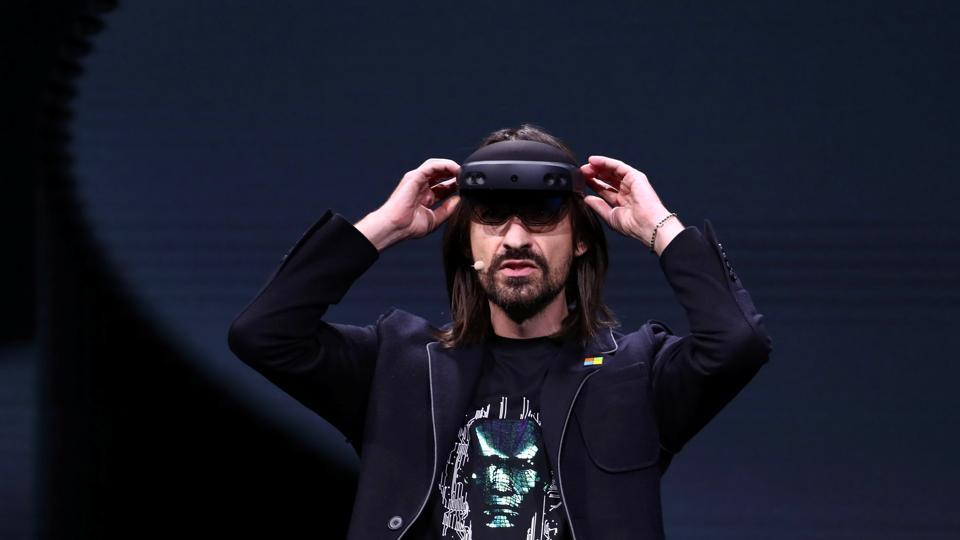 Microsoft's Alex Kipman, the man responsible for the HoloLens augmented reality device, presents the HoloLens 2 ahead of the Mobile World Congress in Barcelona.