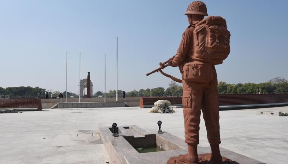 A statue of an army soldier is displayed at the National War Memorial, near India Gate in New Delhi, India.