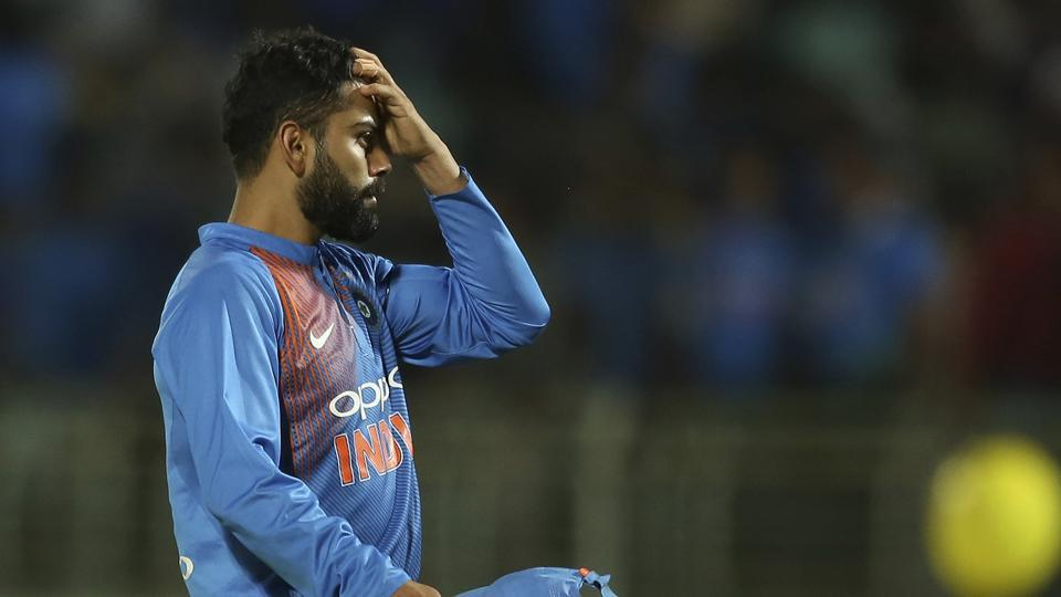 Virat Kohli reacts after India lost the first T20I against Australia.