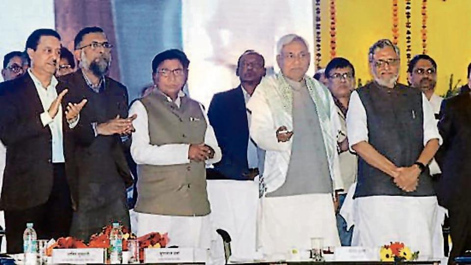 Chief minister Nitish Kumar with deputy CMSushilKumar Modi at a function in Patna