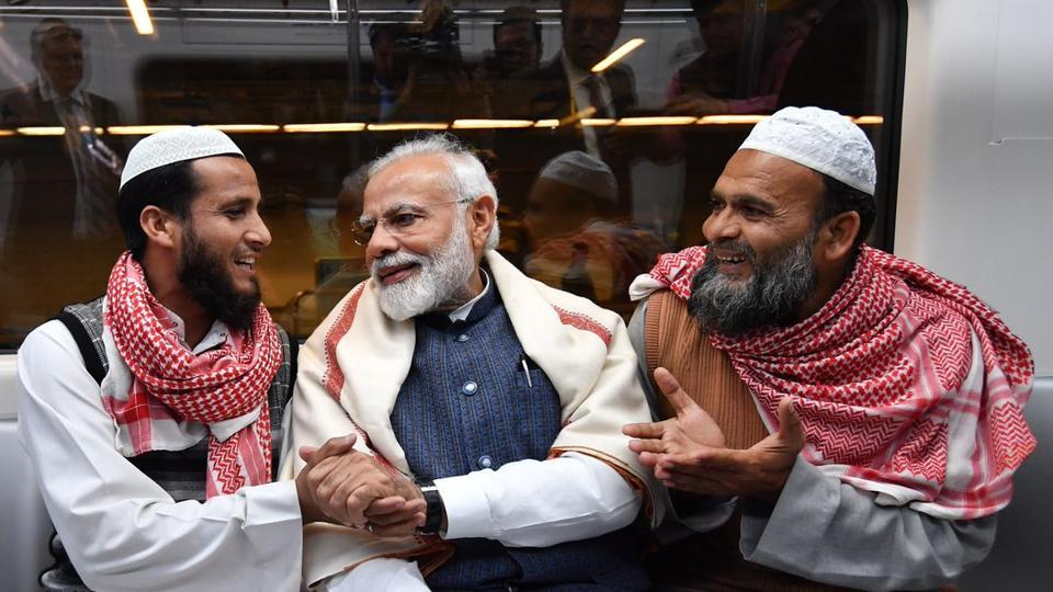 Prime Minister Narendra Modi took the Delhi Metro from Khan market station to travel to a ISKCON temple event in south Delhi.