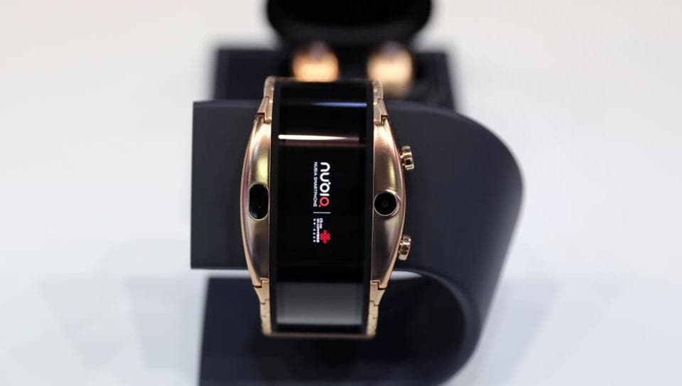 A new Nubia Alpha wearable smartphone is displayed inside its booth at the Mobile World Congress in Barcelona, Spain February 25, 2019.