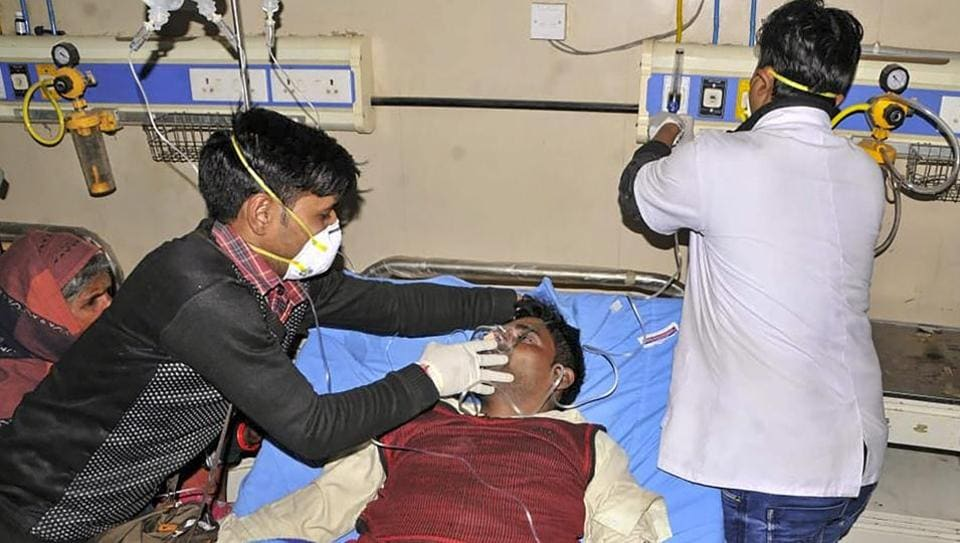 Meerut: Victims undergo treatment after consuming a spurious liquor at Saharanpur, Meerut, Feb 9