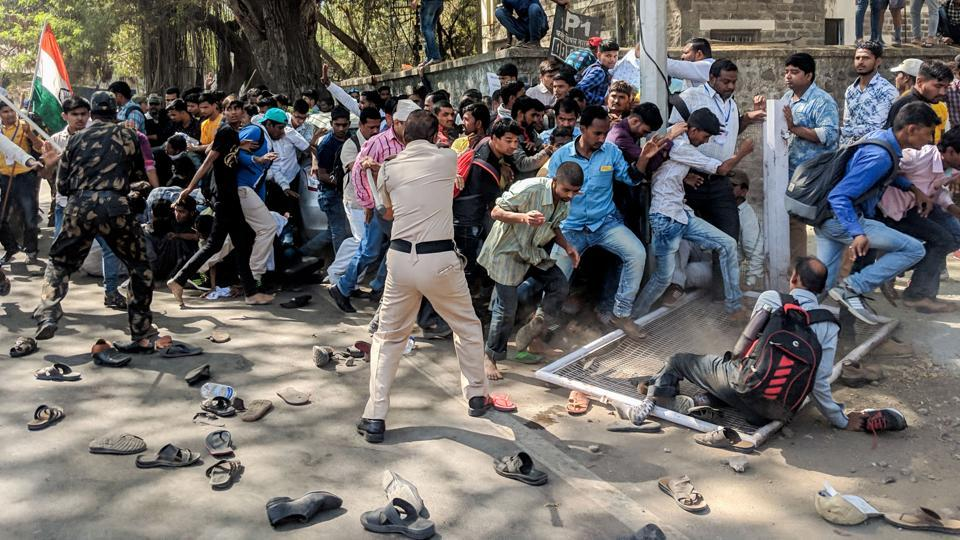 Members of the state-level Association of Deaf were subjected to baton charge by police officials, outside Samaj Kalyan office after they protested against the government for not fulfilling their demands on Monday. (SANKET WANKHADE/HT PHOTO)