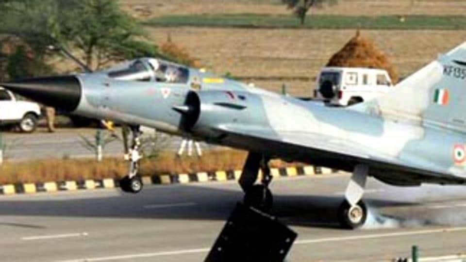 The Indian Air Force Mirage 2000 touches down on Yamuna Expressway in Uttar Pradesh