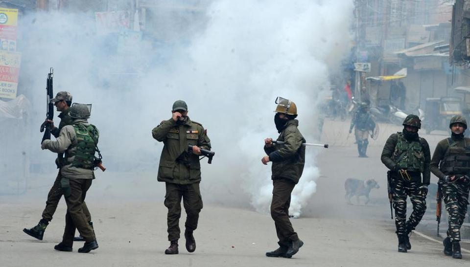 Clashes erupt as Indian National Investigation Agency (NIA) launch a raid at the Kashmiri separatist leader Mohammad Yasin Malik's residence in Srinagar's Maisuma area on February 26, 2019.  Image for representation.