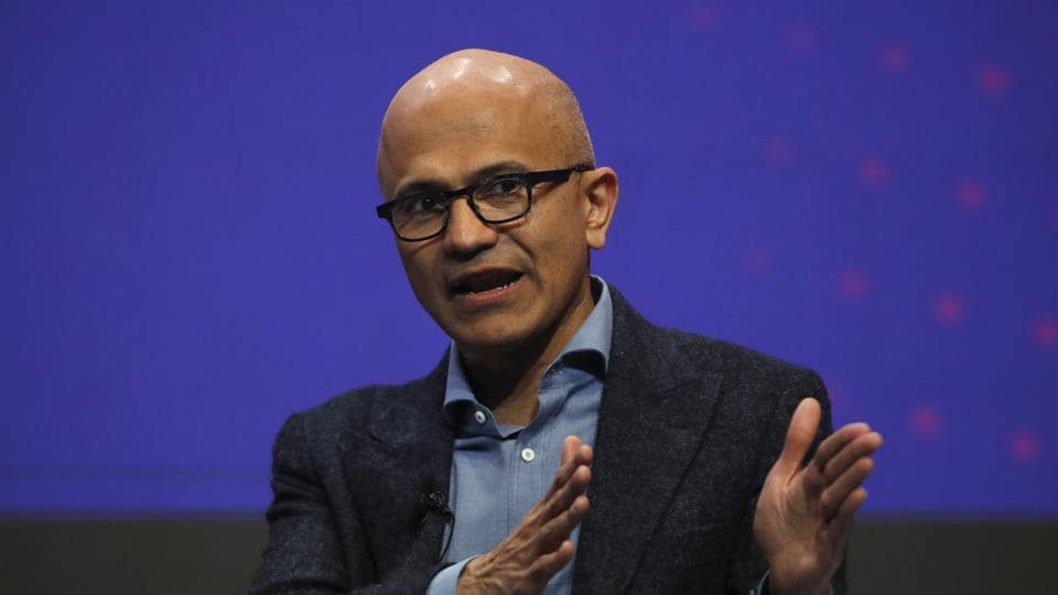 Satya Nadella, chief executive officer of Microsoft Corp., gestures as he speaks during a keynote session on the opening day of the MWC Barcelona in Barcelona, Spain.