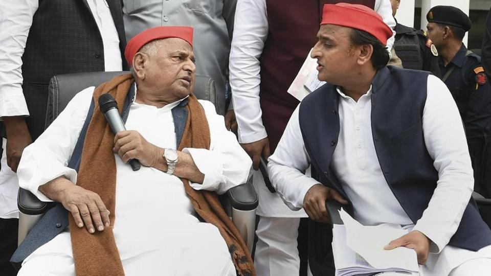Samajwadi Party leaders Mulayam Singh Yadav and Akhilesh Yadav address their party workers, in Lucknow, Thursday, Feb 21. 2019.