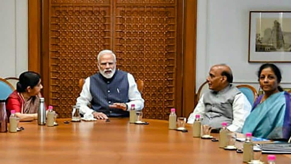 Prime Minister Narendra Modi chairs a meeting of the Cabinet Committee on Security at his residence in New Delhi.