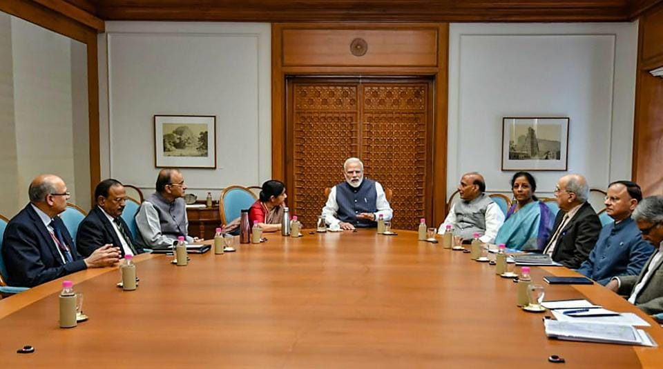Prime Minister Narendra Modi chairs a meeting of the Cabinet Committee on Security at his residence in New Delhi, Feb 26, 2019 following the IAF's air strikes in Pakistan