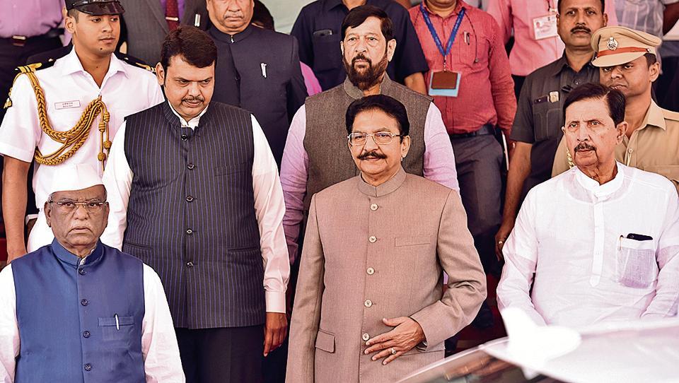 Maharashtra governor Vidyasagar Rao and CM Devendra Fadnavis on the first day of the budget session at Vidhan Bhavan on Monday.
