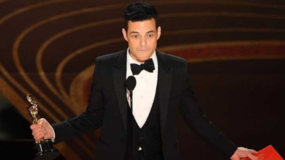 Actor Rami Malek during his acceptance speech at the Oscars 2019